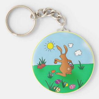 Easter Bunny Delivering Eggs Keychain