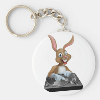 Easter Bunny DJ at the Decks Basic Round Button Keychain