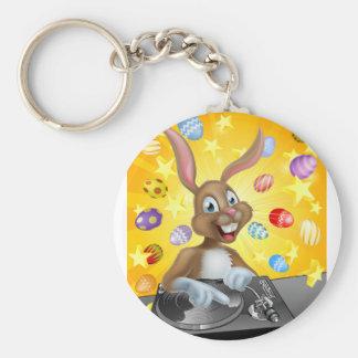 Easter Bunny DJ Basic Round Button Keychain