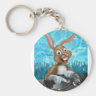 Easter Bunny DJ Party Basic Round Button Keychain