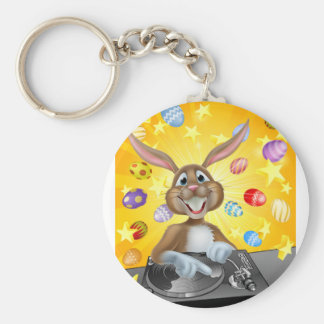 Easter Bunny DJ With Eggs and Stars Basic Round Button Keychain