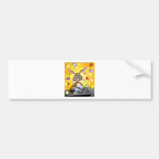 Easter Bunny DJ With Eggs and Stars Bumper Sticker