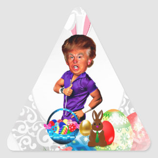 easter bunny donald trump triangle sticker