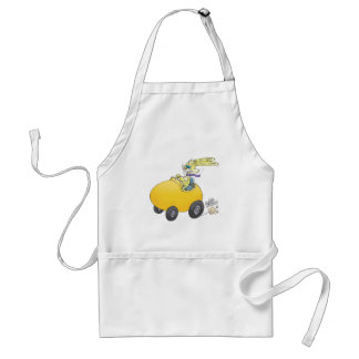Easter bunny driving an Easter egg!.jpg Adult Apron