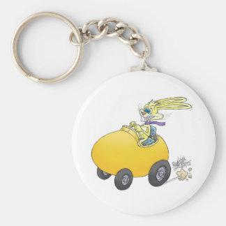 Easter bunny driving an Easter egg!.jpg Keychain