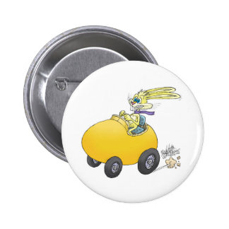 Easter bunny driving an Easter egg!.jpg Pinback Button