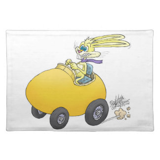 Easter bunny driving an Easter egg!.jpg Placemat