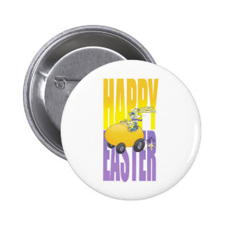 Easter bunny driving an egg. button