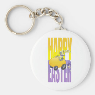 Easter bunny driving an egg. keychain
