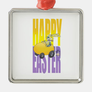 Easter bunny driving an egg. metal ornament