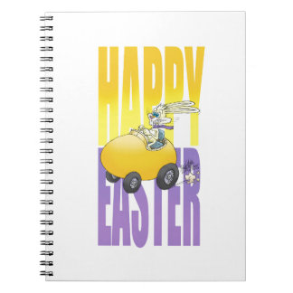 Easter bunny driving an egg. notebook