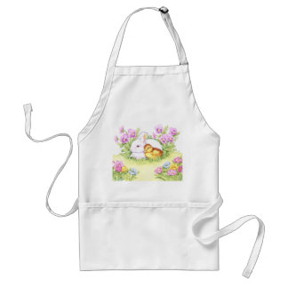 Easter Bunny, Duckling and Flowers Adult Apron
