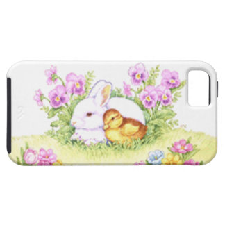 Easter Bunny, Duckling and Flowers iPhone 5 Case