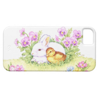Easter Bunny, Duckling and Flowers iPhone 5 Cases