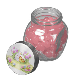 Easter Bunny, Duckling and Flowers Jelly Belly Candy Jars