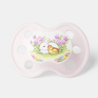 Easter Bunny, Duckling and Flowers Baby Pacifiers
