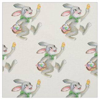 Easter bunny dyed eggs basket fabric
