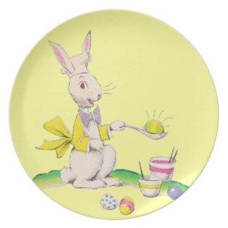 Easter Bunny Dying Eggs Dinner Plates