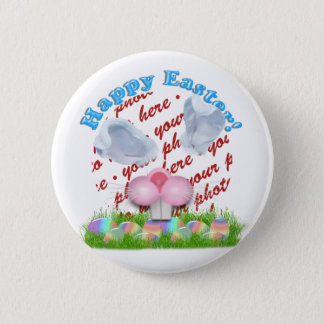 Easter Bunny (Ears & Nose Adjustable) Photo Frame Button