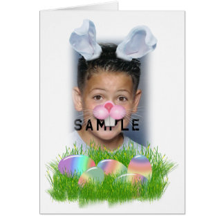 Easter Bunny (Ears & Nose Adjustable) Photo Frame Greeting Cards