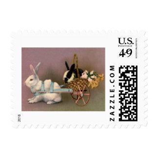 Easter Bunny Easter Basket Flowers Floral Cart Postage