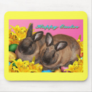 Easter Bunny, Easter Eggs & Easter Lillies on Pink Mouse Pad