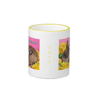 Easter Bunny, Easter Eggs & Easter Lillies on Pink Ringer Coffee Mug