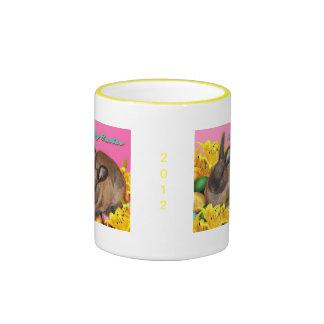 Easter Bunny, Easter Eggs & Easter Lillies on Pink Ringer Mug