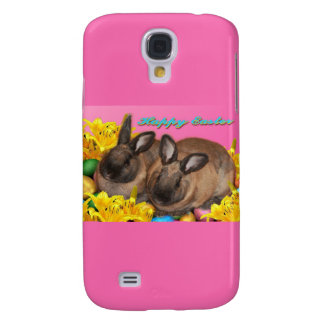 Easter Bunny, Easter Eggs & Easter Lillies on Pink Samsung Galaxy S4 Case