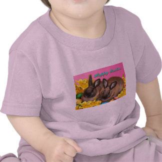 Easter Bunny, Easter Eggs & Easter Lillies on Pink Tee Shirt