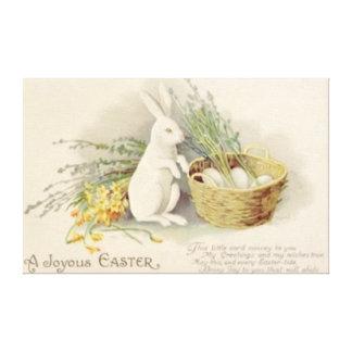 Easter Bunny Egg Basket Daffodil Jonquil Canvas Print