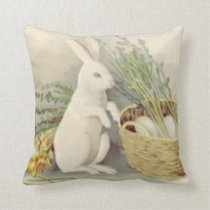 Easter Bunny Egg Basket Daffodil Jonquil Throw Pillow