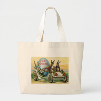 Easter Bunny Egg Car Daisy Large Tote Bag