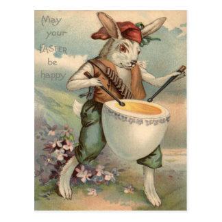 Easter Bunny Egg Drum Drummer Flower Postcard