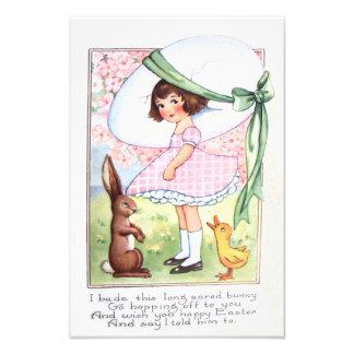 Easter Bunny Egg Duck Flower Girl Photo Print