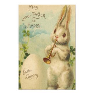 Easter Bunny Egg Four Leaf Clover Trumpet Photo Print