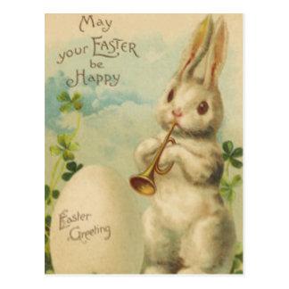 Easter Bunny Egg Four Leaf Clover Trumpet Postcard