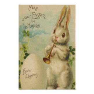 Easter Bunny Egg Four Leaf Clover Trumpet Poster
