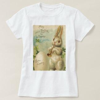 Easter Bunny Egg Four Leaf Clover Trumpet T-Shirt