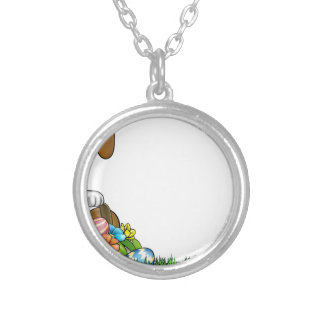 Easter Bunny Egg Hunt Background Silver Plated Necklace