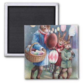 Easter Bunny Egg Lantern Parade 2 Inch Square Magnet