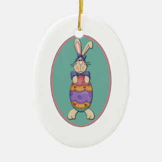 Easter Bunny Egg Oval Christmas Tree Ornaments