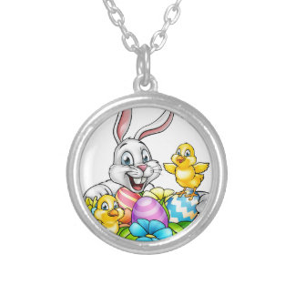 Easter Bunny Eggs and Chicks Silver Plated Necklace