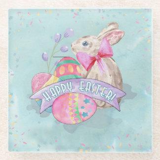 Easter Bunny, Eggs and Confetti ID377 Glass Coaster