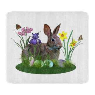 Easter Bunny, Eggs, and Spring Flowers Cutting Boards