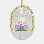 Easter Bunny Eggs - SRF Double-Sided Oval Ceramic Christmas Ornament