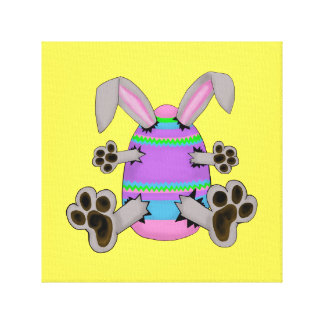 Easter Bunny Escapes from Colorful Easter Egg Canvas Print