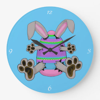 Easter Bunny Escapes from Colorful Easter Egg Wall Clock
