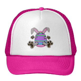 Easter Bunny Escapes from Colorful Easter Egg Trucker Hat