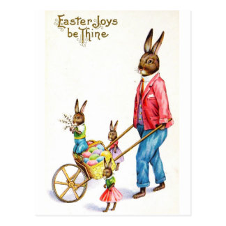 Easter Bunny Family Dressed Out For Delivery Postcard